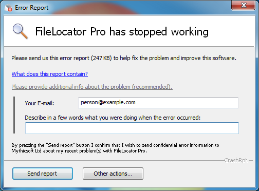 FileLocator Pro Crash Report